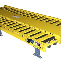 Motorized Roller Conveyor Carrying Pallets for Appliance Assembly