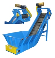 hinged-steel-belt-conveyor-with-custom-hopper-&-discharge-chute