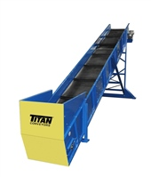 Cleated Belt Incline Conveyor with Infeed Hopper