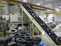 Inclined Rough Belt Conveyor with Special Cleats for Tire Recycling