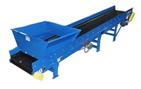 rough top slider bed belt conveyor with infeed hopper