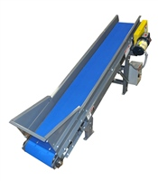 incline slider-bed-belt-conveyor-with-hopper-and-controls