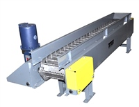 Horizontal Hinged Steel Belt Conveyor - Motor Mounted Vertically