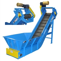 hinged-steel-belt-conveyor-with-custom-infeed-hopper-&-discharge-chute