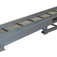 "cleated hinged steel belt conveyor - 6"" flared siderail   - feed mounted on fork lift slots"