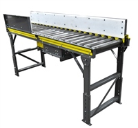 model-525-chain-driven-live-roller-conveyor-with-tall-uhmw-side-rails-&-pop-up-chain-cransfer-conveyor