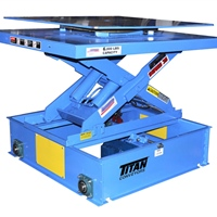 turntable with scissor lift on shuttle cart