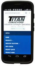 Titan Conveyors website on a cellphone screen